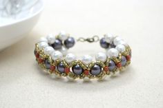 Woven Pearl Bracelet with Seed Beads bracelet pearl how to woven