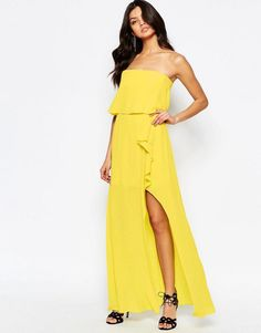 Pin for Later: 79 Robes Longues Super Confort Pour Cet Été  BCBGMAXAZRIA Robe longue bandeau à volants - Chartreuse vif (403€)
