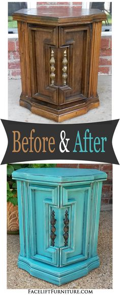 Chunky Turquoise Hexagon End Table Before & After Distressed Furniture Chunky Hexagon Table turquoise Diy Garden Furniture, Trendy Furniture, Furniture Sale, Repurposed Furniture, Furniture Projects, Furniture Makeover, Ikea Furniture, Refinished Furniture, Painting Furniture
