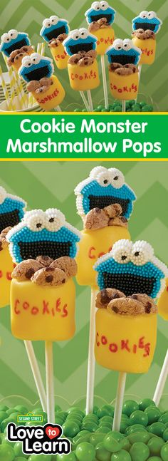 Cookie Monster Marshmallow Pops - Looking for a fun treat for your Sesame Street party? Look no further than these Cookie Monster's Cookie Jar Marshmallow Pops! A fun alternative to cakes and cupcakes, these tasty marshmallow pops feature Cookie Monster icing decorations and tasty cookie cereal coming out of the marshmallow cookie jar. A fun project for beginners, these little treat pops are sure to bring a smile to anyone's face!