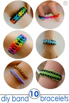 rainbow band bracelet tutorial for kids craft. She loves those rubber band bracelets! Rainbow Loom Patterns, Rainbow Loom Bands, Rainbow Loom Bracelets, Rainbow Loom Creations, Loom Band Bracelets, Rubber Band Bracelet, Kids Bracelets, Diy Bracelets With Rubber Bands, Rubber Band Crafts