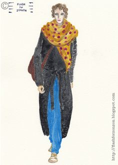 Street Style. Dotted Scarf Makes the Difference. Illustration Flash For Zonzon.