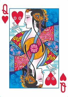 Bicycle Emperor Playing Cards by Joanne Lin: The Queen of Hearts. ❣Julianne McPeters❣ no pin limits