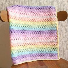 Hey, I found this really awesome Etsy listing at https://www.etsy.com/uk/listing/294284785/pastel-rainbow-crochet-blanket