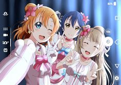 Mimorin, Ucchi, and Emitsun animated as Honoka, Umi, and Kotori