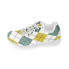 Wish these had cleats, they'd be fantastic golf shoes! ARGYLE GOLD AND GREEN Women's Running Shoes #sneakers #trainers
