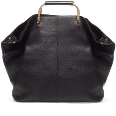 Zara Shopper With Metal Handle ($159) ❤ liked on Polyvore
