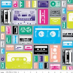 Geekly Chic Cassettes Gray by Riley Blake Designs GRAY retro tape cassette music novelty fabric Stash Fabrics, Moise, Tape Art, Novelty Fabric, Novelty Print, Collage Vintage, Riley Blake, Blue Fabric, Retro Vintage