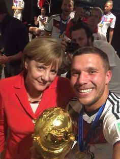 13942b3607 Fifa World Cup 2014 Brazil  GERMAN Celebration  German player Lukas  Podolski selfie with German