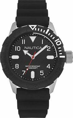 b7fef8a86074 Men s Nautica Black Rubber Strap 44mm Watch NAD09519G Smartwatch