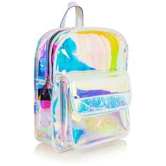 Clear Holographic Backpack by Skinnydip ($39) ❤ liked on Polyvore featuring bags, backpacks, multi, plastic bag, crystal clear bags, rucksack bags, holographic backpack and day pack backpack