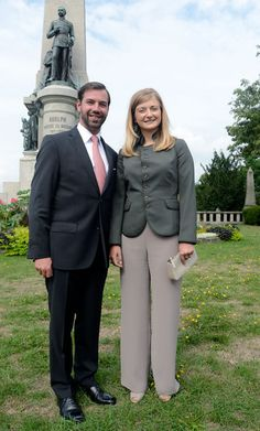 Princess Stephanie of Luxembourg and the hereditary Grand Duke Prince Guillaume of Luxembourg visit the Nassaurian State Memorial at the state chancellery on 31 Aug 2013 in Wiesbaden, Germany.
