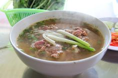 Bun Bo Heo Gio or Beef and Pork Knuckle Noodle Soup. Similar to Bun Bo Hue.