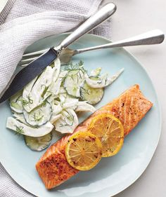 Salmon With Creamy Cucumber-Fennel Salad | Get the recipe for Salmon With Creamy Cucumber-Fennel Salad.