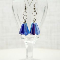 Icy Colored Cluster Earrings Multi Blue Cone by CallunaMuse