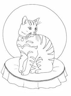 Coloring Sheet Of A Pretty Cat Sitting On Cushion