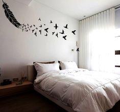 Plantilla de plumas grandes y reutilizables de plantilla pluma pared con aves