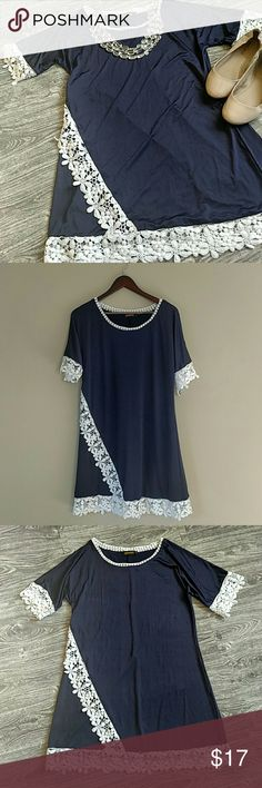 NWOT- Navy Tunic/Top With Lace Detail So adorable and never worn!!! *See photos for measurements and fabric details 💝Posh Ambassador! Shop With Confidence  💚Posh Compliant Closet 💚 💕Bundle your likes to maximize savings 💕 Reborn Other