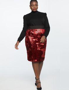 952ef7a2357d0 Sequin Column Skirt Stylish Plus, Trendy Plus Size, Plus Size Tops, Plus  Size