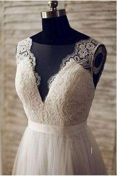 BOHO WEDDING LACE DRESS BOHO BRIDESMAID DRESSES Silhouette A-line Neckline V-neck Waist Natural Hemline / Train Sweep / Brush Train Sleeve Length Sleeveless Embellishments Lace, Button Back Details Ba