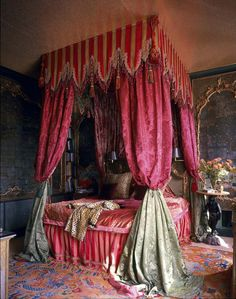 Unique four poster bed drapery. Dodie Rosekrans bedroom on the Place du Palaise Bourbon, Paris, France, decorated by Tony Duquette and Hutton Wilkinson. The century mirrored boiseries are venetian, from the collection of Rose Cumming. Parisian Bedroom, Glam Bedroom, Bedroom Decor, Bedroom Ideas, Bed Curtains, Canopy Beds, Canopies, Four Poster Bed, Style Retro