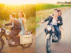 motorcycle couple picture.... Cool idea for photoshoot
