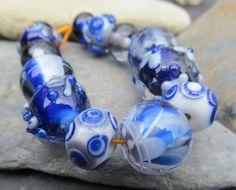 Indigo Baby encased lampwork bead set by KitzbitzArtBeads on Etsy, £27.00