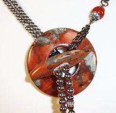 Gorgeous Gemstone Lariat Necklace Pendant by MixedElementsJewelry