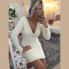 Design de moda V Neck manga comprida Lace Branco Vestidos Cocktail com pérolas curto Mini Backless Prom Vestidos x- Ocasião: ...