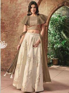 Buy Off White Silk Embroidered Designer Lehenga Choli Online Saree Blouse Neck Designs, Choli Designs, Fancy Blouse Designs, Designs For Dresses, Lehenga Designs, Lehenga Blouse, Silk Lehenga, Ghagra Choli, Silk Dupatta