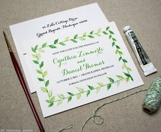 Watercolor Green Leaves Save the Date Cards * MyPersonalArtist.com