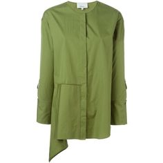 3.1 Phillip Lim asymmetric blouse (12.550 RUB) ❤ liked on Polyvore featuring tops, blouses, green, asymmetric top, long sleeve cotton tops, asymmetric blouse, long sleeve blouse and long sleeve tops