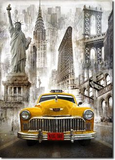 New York Taxi - Diy Diamond Embroidery Painting Kit. On Sale New York Taxi, New York City, Top Photos, Illustrations Vintage, Etiquette Vintage, Foto Transfer, Cross Stitch Supplies, Paint By Number, Diy Painting