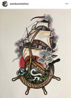 Trendy Tattoo Traditional Old School Ink Tatoo Ideas Traditional Ship Tattoo, Traditional Ink, American Traditional, Traditional Ideas, Traditional Tattoo Drawings, Dessin Old School, Old School Ink, Tatuagem Old Scholl, Sailor Jerry Tattoos