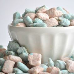 These muddy buddies are colorful and taste just like cotton candy! A sure win! I know, I know. I've been on a muddy buddy roll. But they're so yummy! Such an easy snack to just sit around and ...