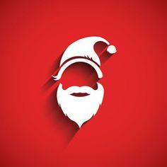 Santa hat, moustache with beard.3D Paper style