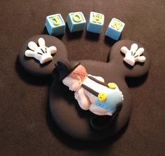Fondant personalized Mickey baby cake topper By evynisscaketopper on Etsy.com