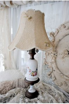 Pair of Antique Old Paris Porcelain Table Lamps with Hand Painted Roses