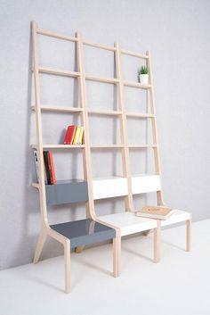 Interesting shelves/chairs combo