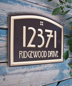 Elegant Arts & Crafts style home address engraved plaque made in polyurethane finished MDF The contrast between a hand painted dark subtle texture