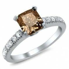 Cushion Cut Chocolate Brown Diamond Ring