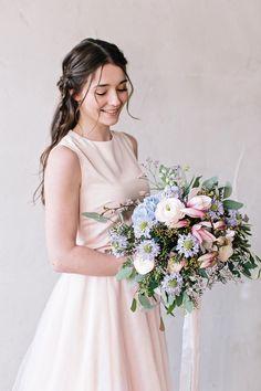 Brautstrauß Rosa, Blau und Lila