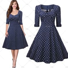 "This is a lovely vintage inspired look swing dress. Available in three color patterns: Red, Black & Blue with White Polka Dots. The dress has a square neck line, is knee length, has a back zipper, is a one piece and made from cotton nylon and spandex.      Available in US sizes 4 - 18 with the following measurements:    Small: US 4 -6,  Bust Range 32.3"" - 34.6"" , Waist 26.8"", Dress Length 39.4""    Medium: US 8, Bust Range 34.3"" - 36.6"", Waist 29.5"", Dress Length 40.2""    Large: US 10- 12…"