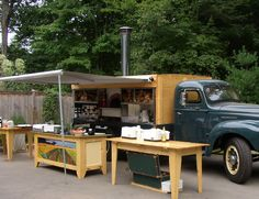 "Nothing sez ""great pizza"" like this pizza truck...a wood-fired oven on a classic truck chassis for catering events!"