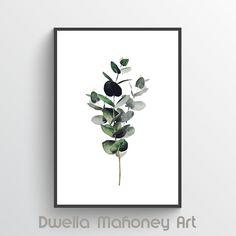 Euclayptus Printable Art Eucalyptus Print Instant Download Watercolor Print Botanical Print Minimalist Print Modern Wall Art Wall Decor by DwellaMahoneyArt on Etsy