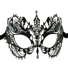 Amazon.com: Laser Cut Metal Venetian Mask with Rhinestone Black: Toys & Games