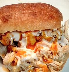 Buffalo Chicken Sandwich. Ohhhhhhhh the chicken turns out to be so moist but then put it all on a bun and you have heaven in your mouth!