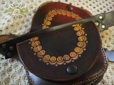 DoUbLe LeAthEr BeLt bAg - hand tooled, sewn and painted