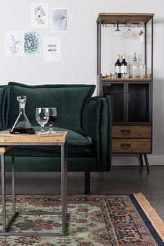 Green velvet couch - Woonkamer - Stoere kast - Livingroom