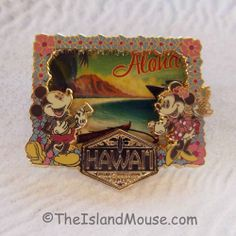 Rare Disney LE DCL Hawaii Cruise Postcard Mickey Minnie Pin (UC:93620)